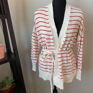 Who what wear white with red stripes XS cardigan
